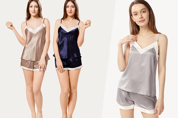 Women Wearing Silk Sleepwear